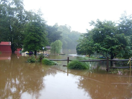 Flooded backyard near Goldsboro railroad underpass.