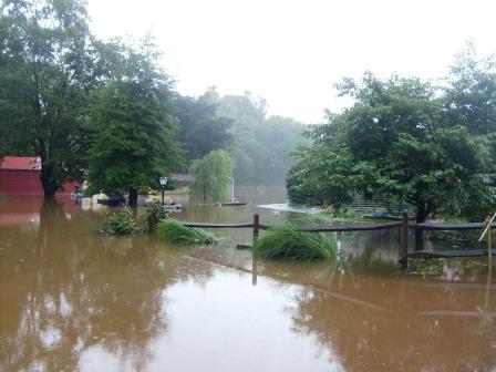 Flooded backyard near Goldsboro railroad underpass.